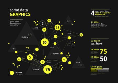 Futuristic infographic. Information aesthetic design. Complex data threads graphic visualization. Abstract data graph. Vector illustration Ilustração