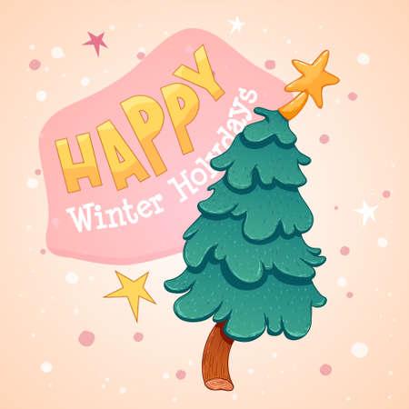 Merry Christmas greeting cards retro design. Vector illustration