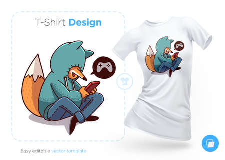 Fox in hoodie playing mobile game t-shirt design. Print for clothes, posters or souvenirs. Vector illustration 向量圖像