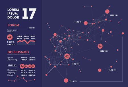 Futuristic infographic. Information aesthetic design. Complex data threads graphic visualization. Abstract data graph. Vector illustration 向量圖像