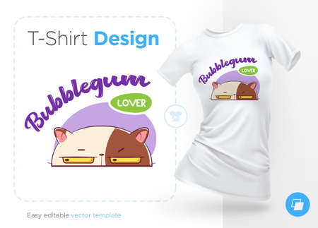 Sweet-tooth cat. Print on T-shirts, sweatshirts, cases for mobile phones, souvenirs. Vector illustration on white background