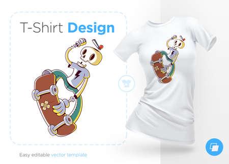 Funny skeleton skater. Print on T-shirts, sweatshirts and souvenirs. Vector illustration. 向量圖像