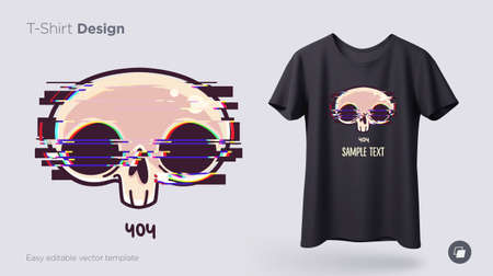 Skull with glitch effect t-shirt design. Print for clothes, posters or souvenirs. Vector illustration 向量圖像