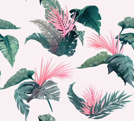 Bright tropical seamless pattern with jungle plants. Exotic background with palm leaves. Vector illustration 向量圖像