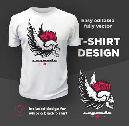 Vintage American bikers club print vector design isolated on white t-shirt mockup.