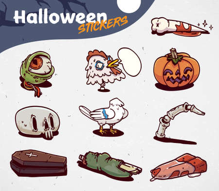 Set Of Cartoon Halloween creepy icons. Stickers Set. Vector illustration. 向量圖像