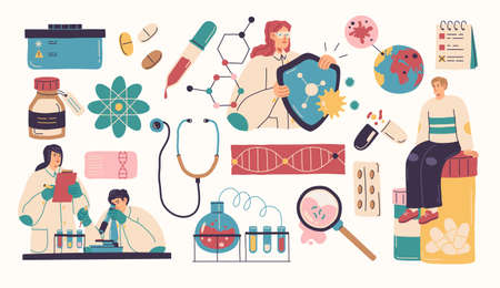 Collection of scientists, doctors or researchers in laboratory. People working in lab, medicines, medical equipment. Illustrations isolated on white background. Flat cartoon colorful vector.