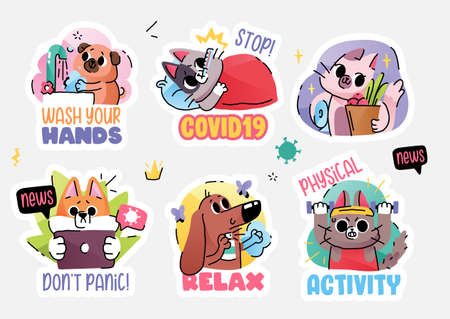 Cats and dogs in medical face mask fighting coronavirus. Self quarantine and isolation concept stickers. Vector illustration 向量圖像