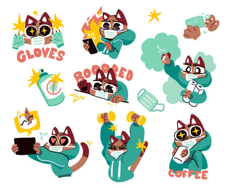 Cat in medical face mask fighting coronavirus. Self quarantine and isolation concept stickers. Vector illustration