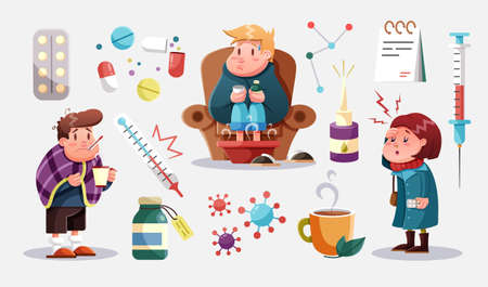 Virus, illness or flu concept. Young men and women have illness. Group of people got infected with virus. Simple flat vector illustration
