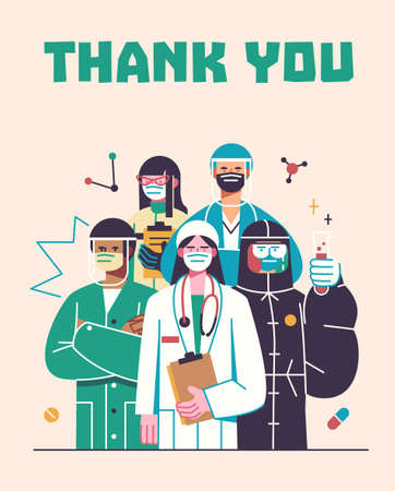 Thank you doctors and nurses working in the hospitals and fighting the coronavirus, vector illustration