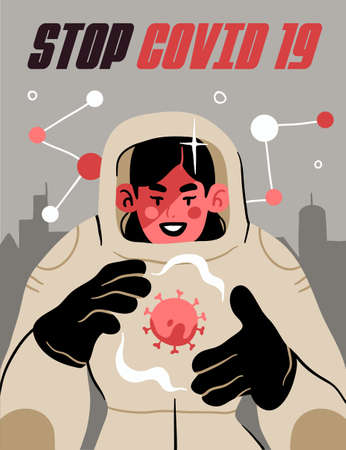 Fight with Coronavirus concept. Illustration of a doctor fighting with covid-19 corona virus. Disease campaign poster. Vector 向量圖像