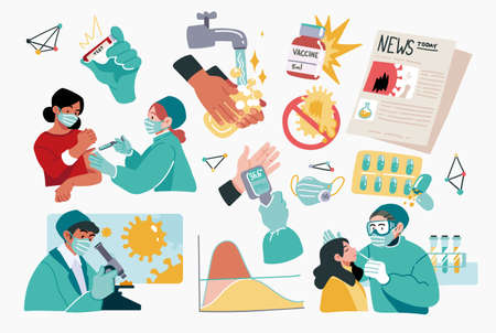Collection of scientists, doctors or researchers in laboratory. People working in lab, medicines, medical equipment. Illustrations isolated on white background. Flat cartoon colorful vector illustration