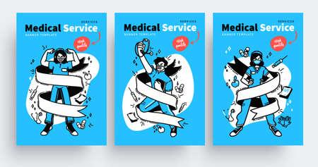 Medical services poster design concepts. Healthcare medical professionals. Doctors, nurses, staff people. Vector illustration