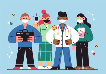 International doctor team. Hospital medical staff. Clinic personnel with face masks. Vector illustration