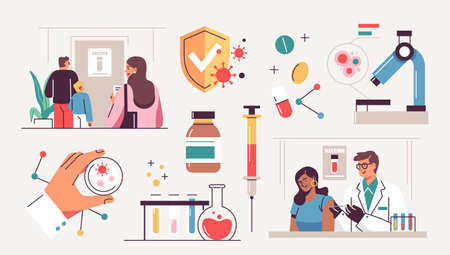 Collection of scientists, doctors or researchers in laboratory. People working in lab, medicines, medical equipment. Illustrations isolated on white background. Flat cartoon colorful vector illustration.