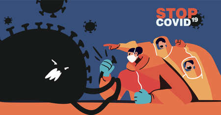 Fight with Coronavirus concept. Illustration of a doctor fighting with covid-19 corona virus. Disease campaign poster.