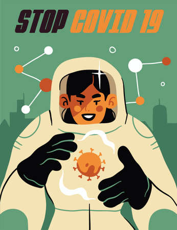 Fight with Coronavirus concept. Illustration of a doctor fighting with covid-19 coronavirus. Disease campaign poster. Vector
