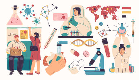 Collection of scientists, doctors or researchers in laboratory. People working in lab, medicines, medical equipment. 向量圖像