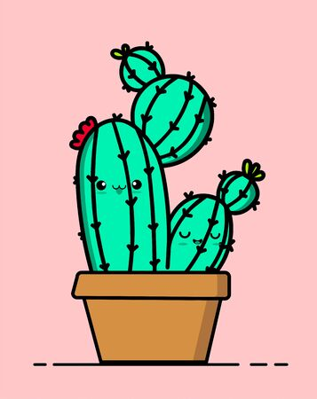 Cute succulent or cactus plant with happy face vector illustration.Bright colors. Funny face.