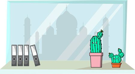 Cute cactus and background landmark.