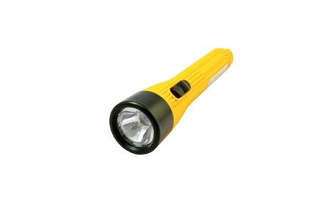 Yellow flashlight isolated on white background. Stock Photo - 8885718