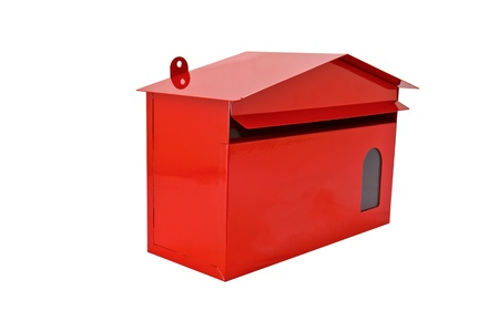 Front red mail box, isolate