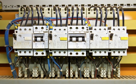 the switch: Pannello di controllo con interruttori differenziali (fusibile) Archivio Fotografico