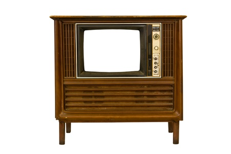 Retro Vintage televisie op een witte achtergrond Stockfoto - 9347600