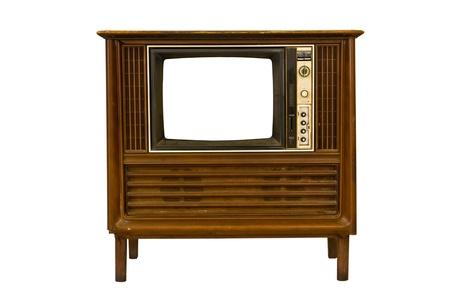 Retro Vintage television  on a white background photo