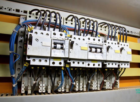 distribution box: Control panel with circuit-breakers (fuse) Stock Photo