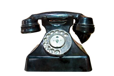 Retro telephone with a disk for number set on white background Stock Photo