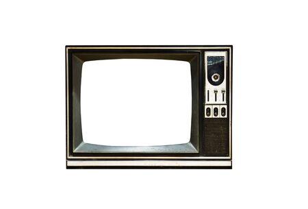 Retro Vintage televisie op een witte achtergrond Stockfoto - 9460594