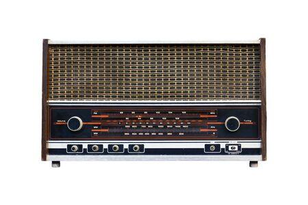shortwave: Old radio isolated on white background.