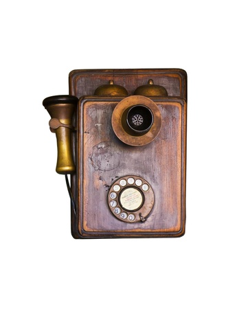 An old telephone  vintage isolate on white