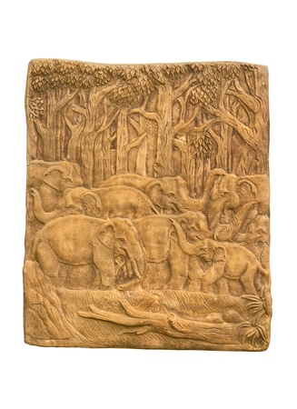 Elephant in Forest Low relief sculpture photo