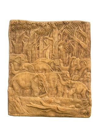 bas relief: �l�phant dans la sculpture de secours de for�t basse