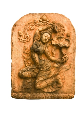 cambodia sculpture: Sandstone carvings woman dancsing in Thailand