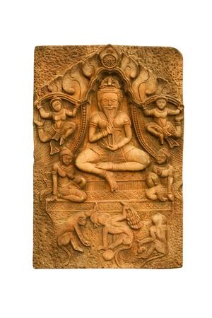 bas relief: Bouddha sculpt� un bas-relief sur le mur.Tha�lande