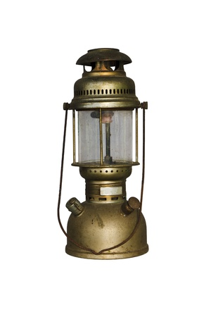 Antique Hurricane Lamp isolated with clipping path photo