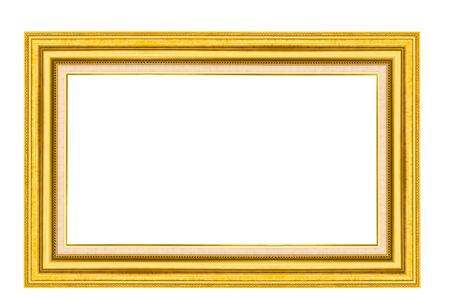 Golden wood picture frame isolated on white background photo