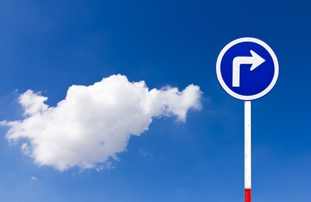 Curved Road Traffic Sign over blue sky,turn right Stock Photo - 10218448