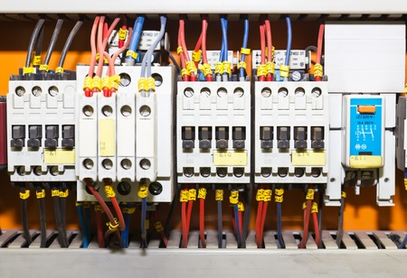 control centre: Control panel with circuit-breakers (fuse) Stock Photo