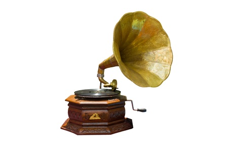 phonograph: retro gramophone with disc isolated