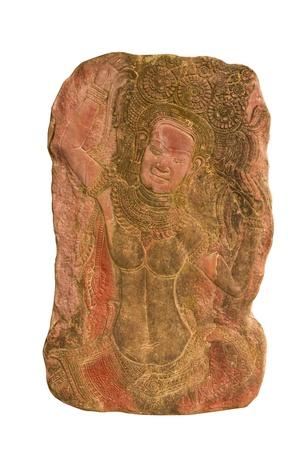 Sandstone carvings woman dancsing in angkor wat,cambodia. photo
