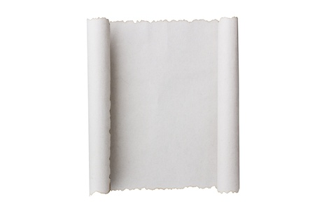 Antique paper scroll on white surface Stockfoto