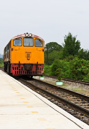 The Thai train that ran in the countryside photo