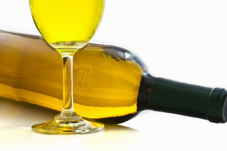 Bottles and glasses of wine on white background Stock Photo
