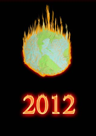 Fake globe in the fire 2012 Stock Photo - 10910789