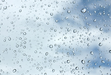 Closeup of water drops on glass surface